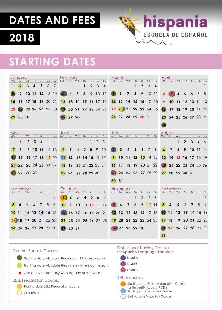 Calendario 2018 Hispania Escuela de Español